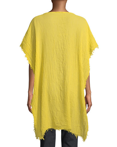 Lightweight Organic Cotton Fringed Poncho