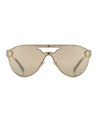 Image 2 of 2: Mirrored Crystal-Studded Shield Sunglasses