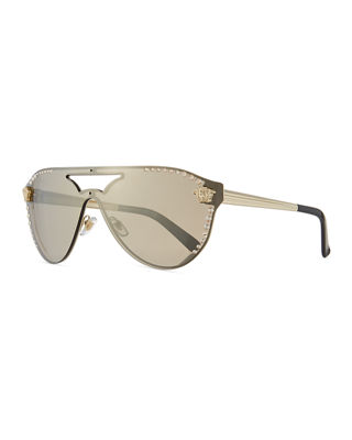 Image 1 of 2: Mirrored Crystal-Studded Shield Sunglasses