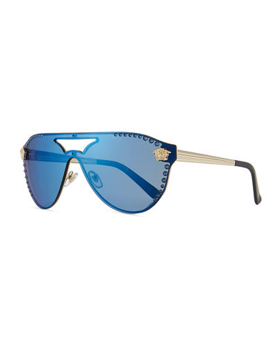 Mirrored Crystal-Studded Shield Sunglasses