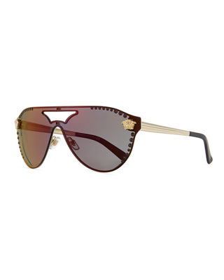 Versace Mirrored Crystal-Studded Shield Sunglasses