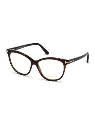 Cat-Eye Plastic Optical Frames in Brown Pattern
