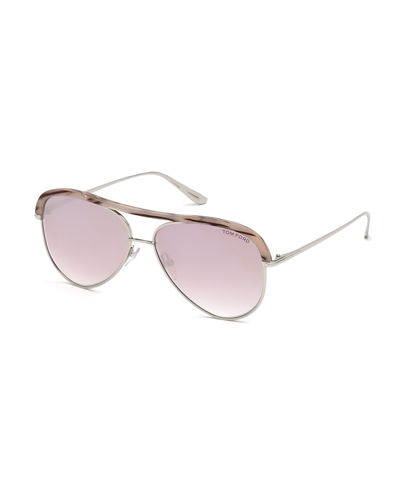 Sabine 02 Metal Aviator Sunglasses w/ Acetate Brow