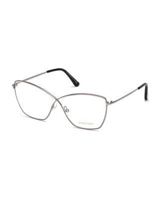 Cat-Eye Metal Optical Frames in Gray Pattern