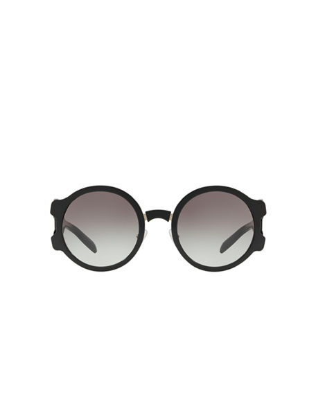 Image 2 of 3: Prada Round Mirrored Sunglasses with Cutout Temples