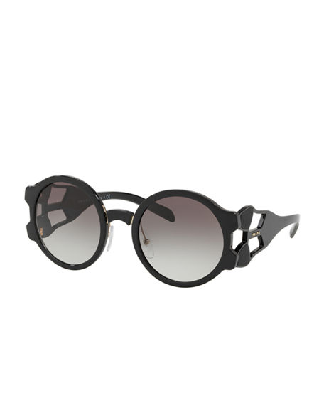 Image 1 of 3: Prada Round Mirrored Sunglasses with Cutout Temples