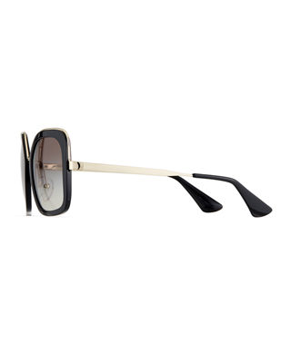 Image 3 of 4: Rimmed Square Metal Sunglasses