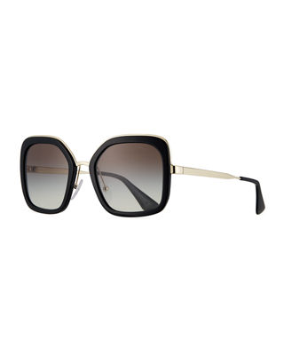 Prada Rimmed Square Metal Sunglasses