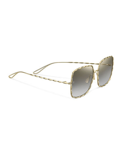 Elie Saab Mirrored Square Gold-Plated Sunglasses