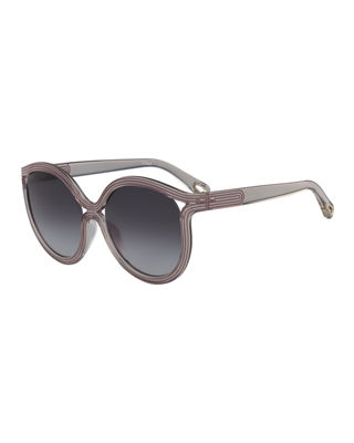 Rita Cat-Eye Plastic Sunglasses, Pink Pattern