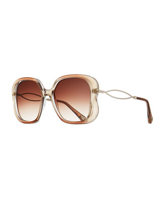 Chloe Petal Rectangle Gradient Sunglasses