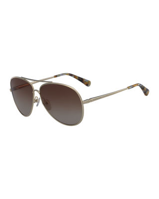 61MM GRADIENT LENS AVIATOR SUNGLASSES - GOLD/ ROSE