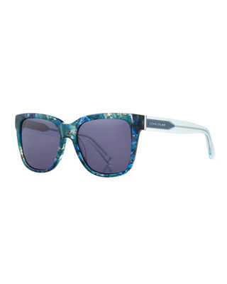 Longchamp Thick Square High-Temple Sunglasses