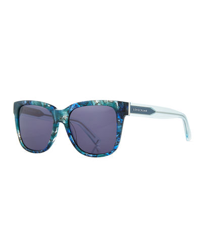 Thick Square High-Temple Sunglasses