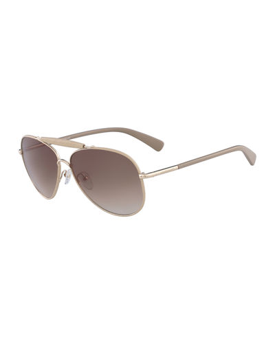 Gradient Aviator Sunglasses w/ Leather Detail
