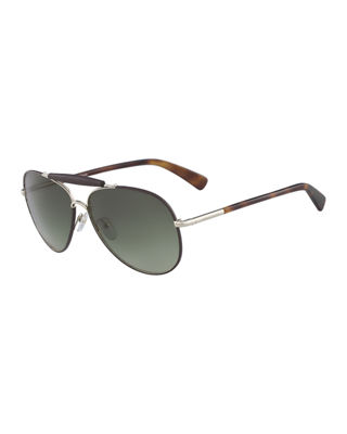 Longchamp Gradient Aviator Sunglasses w/ Leather Detail