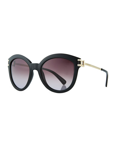 Plastic & Metal Cat-Eye Sunglasses