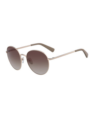 56Mm Round Sunglasses - Rose Gold/ Nude