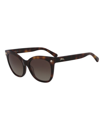Cat-Eye Sunglasses w/ Stud Detail