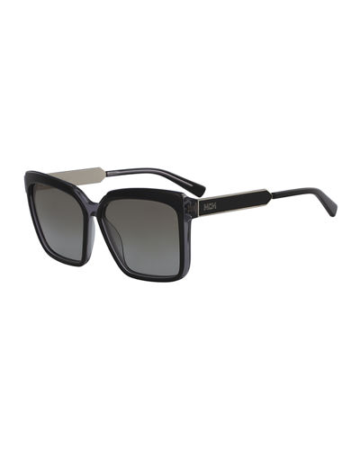 Square Zyl Sunglasses w/ Metal Trim