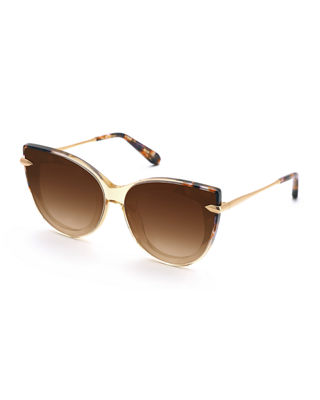 KREWE Laveau Cat-Eye Acetate & Metal Mirrored Sunglasses in Champagne