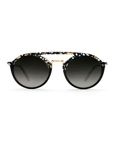 Marigny Acetate & Metal Round Sunglasses
