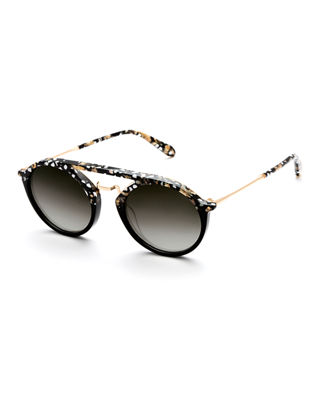 KREWE Marigny 24K Gradient Round Sunglasses, 50Mm in Plume To Black