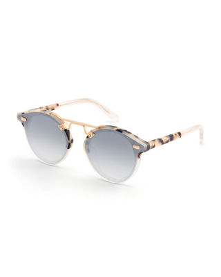 KREWE Women'S Stl Ii Nylon 24K Mirrored Round Sunglasses, 63Mm in Matte Oyster
