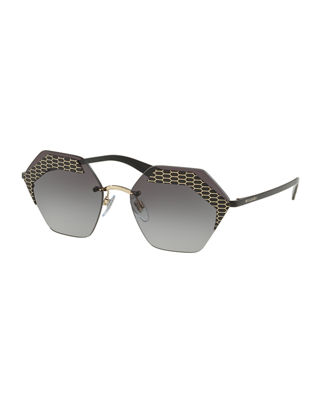 BVLGARI Hex-Frame Rimless Sunglasses