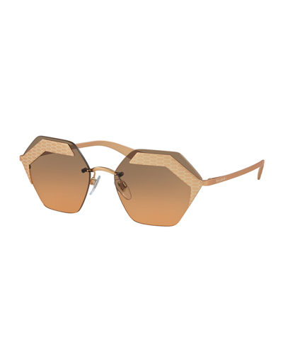 Hex-Frame Rimless Sunglasses