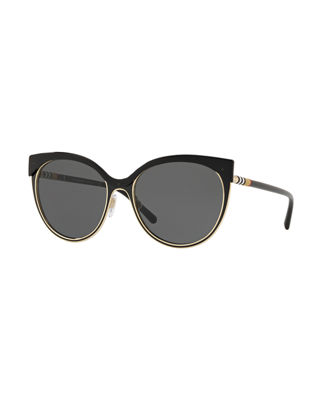Burberry Mirrored Cat-Eye Metal Sunglasses
