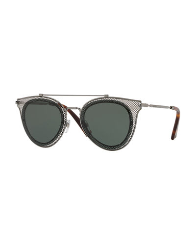 Metal Mesh Aviator Sunglasses