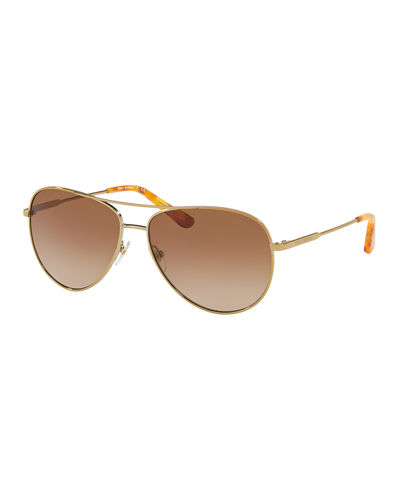 Mirrored Aviator Metal Sunglasses