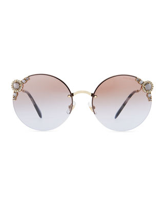 Image 2 of 3: Stone-Trim Semi-Rimless Gradient Round Sunglasses