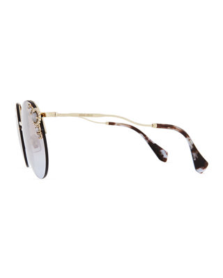 Image 3 of 3: Stone-Trim Semi-Rimless Gradient Round Sunglasses