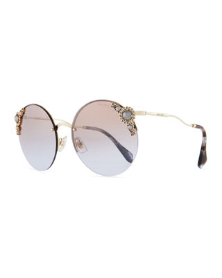 Image 1 of 3: Stone-Trim Semi-Rimless Gradient Round Sunglasses