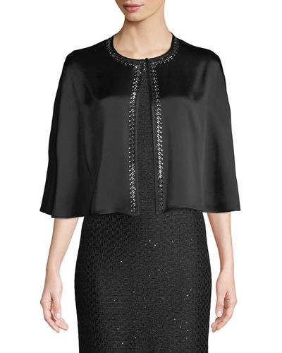 Liquid Crepe Cape w/Sequined Trim