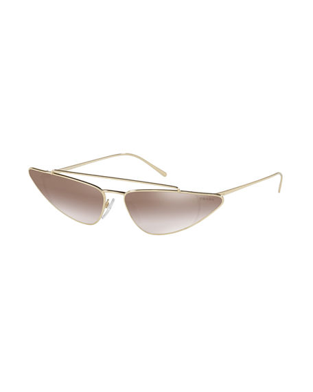 e8c828de94b Prada Metal Cat-Eye Sunglasses In Pale Gold Gradient Brown Mirror Silver
