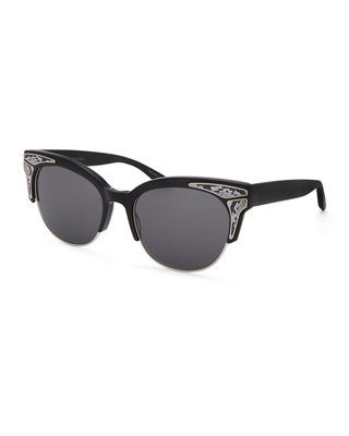 Fortuna Semi-Rimless Cat-Eye Sunglasses