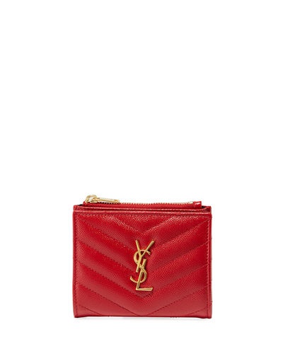 Monogram YSL Quilted Grain Leather Zip Card Case