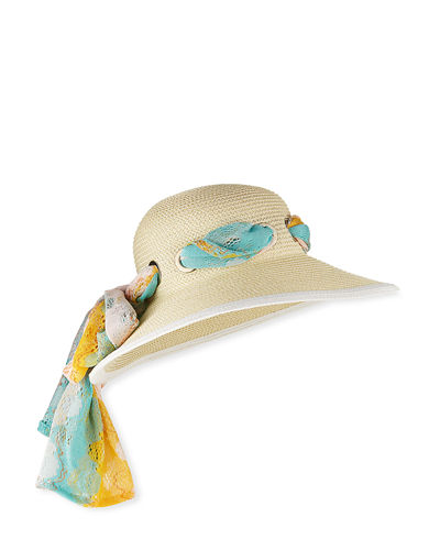 Sun Hat with Scarf Detail