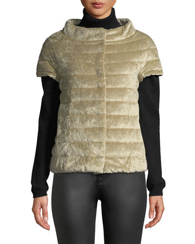 Quilted Velvet Cap-Sleeve Poncho-Style Puffer Jacket