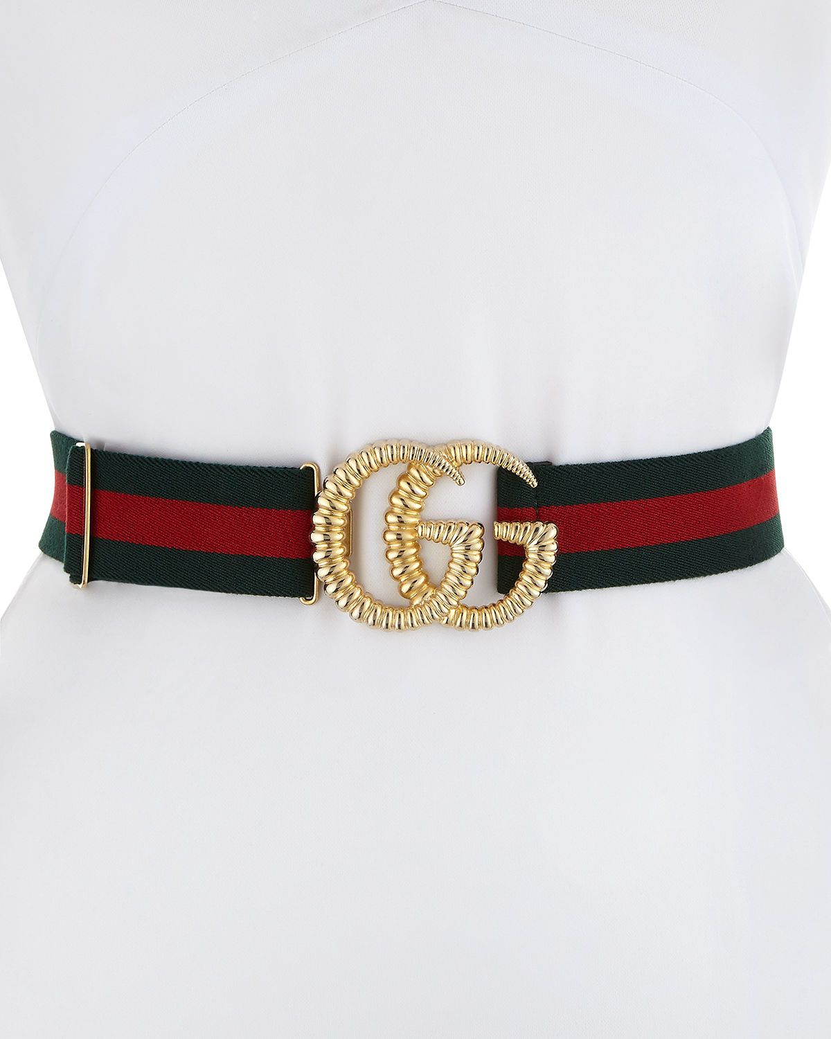 70012c60384f Gucci Piccadilly Moon Elastic Web Belt w  Textured GG Buckle ...