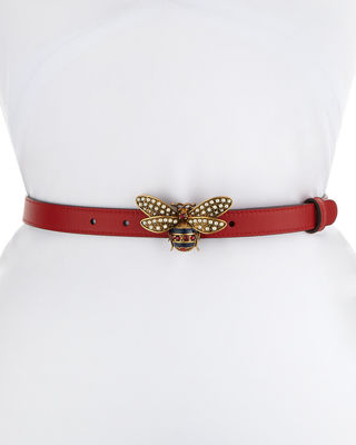 Gucci Queen Margaret Leather Belt w/ Embellished Bee