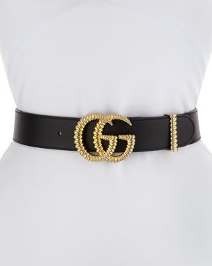 c96c176af57 Gucci Moon Leather Belt w  Textured GG Buckle