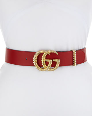 Gucci Moon Leather Belt w/ Textured GG Buckle,