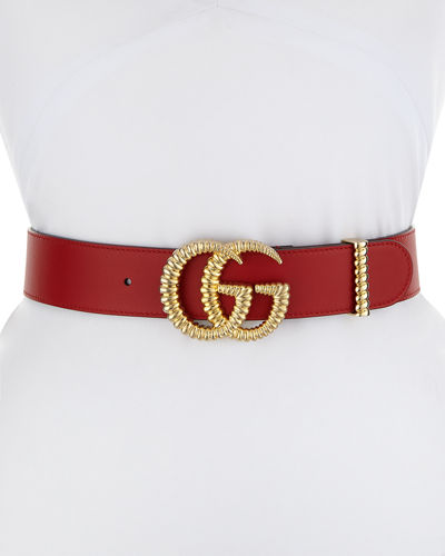 "Moon Leather Belt w/ Textured GG Buckle, 1.5""W"
