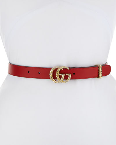 Moon Leather Belt w/ Textured GG Buckle, 1