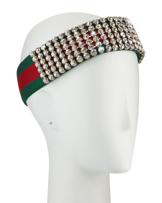 Gucci Crystal Embellished Web Headband