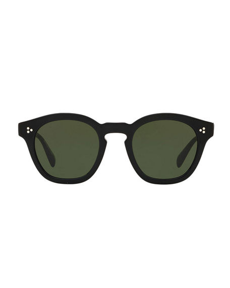 Image 2 of 2: Oliver Peoples Boudreau L.A. Mirrored Round Acetate Sunglasses